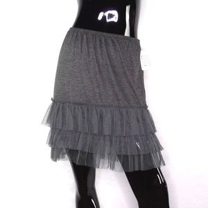 O2 Collection Gray Pull-on Ruffled Tulle Skirt